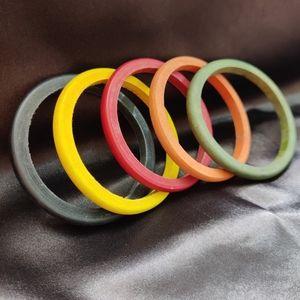 Multi-coloured wooden bangles (set of 5)